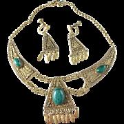 Early 1900s Vermeil Sterling Silver Agate Filigree Set Earrings Necklace. Eastern Mediterranean