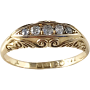 Antique Victorian Chester England 18k Gold Diamond Ring, year 1899. 0.14ct