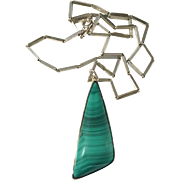 Elona Arenhill, Sweden Modernist year 1961, Sterling Malachite Pendant Necklace. 1.31oz