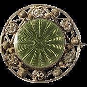 Ole Nicolai Olberg, Norway 1907-1934 Solid Silver Filigree Enamel Art Nouveau Brooch.