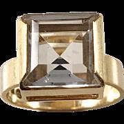 18k Gold Rock Crystal year 1969. Modernist, Maker Gustaf Dahlgren, Sweden. 6.4gram. Size 6