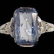 Art Deco year 1939 18k White Gold Light Blue Stone Rose Cut Diamonds Ring. Stockholm Sweden.
