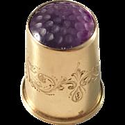 Antique year 1912 Sweden, 18k Gold Purple Stone Thimble. Bernhard Herz