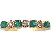 Vintage Mid Century 18k Gold Diamond Emerald Ring. Excellent.