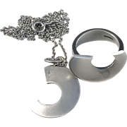 Niels Erik From, Denmark Sterling Silver Set. Ring and Pendant Necklace. Modernist 1970s