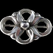 Georg Jensen Sterling Silver Tulip Brooch. Design 305. 1950s. Excellent.