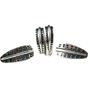 David Andersen, Norway 1960s Viking Saga Sterling Silver Set. Earrings and Ring. Excellent.