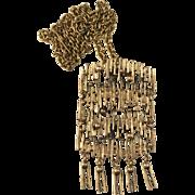 P. Sarpaneva Finland Large Bronze Pendant Necklace. Modernist Brutalist 1970s. Design: Grandmother's Lace Tablecloths