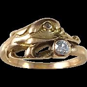 c 1900 14k Gold Old European Cut Diamonds Animal Head Ring.