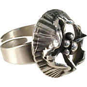 Large Modernist year 1972 Sterling Silver Ring. Maker Sten & Laine, Finland