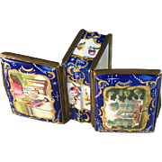 Extremely rare Battersea Bilston Enamel Double Sided Snuff Patch Box c 1780-90.