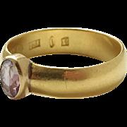 23k Gold year 1876 Fredrik Söderström, Sweden Amethyst Antique Victorian Ring. Wow