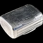 Samuel Pemberton, year 1817 Novelty Sterling Silver Vinaigrette Box. Rare