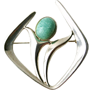 David-Andersen, Norway. Designer Harry Sørby. Sterling & Amazonite Brooch 1960s. From the Troll Series. Excellent