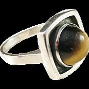 Niels Erik From, Sterling Silver Tiger Eye Modernist Ring. Denmark 1960s.
