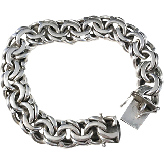 Massive 2.8oz Solid Silver Bracelet. Victor Janson year 1963 Swden.