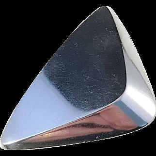 Large Hans Hansen, Denmark Design no 116 Modernist c 1965 Sterling Silver Pin Brooch. Signed.