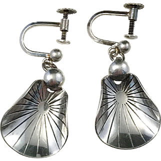 K E Palmberg Solid Silver Mid Century Earrings, Sweden year 1956.