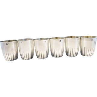 Paul Canaux & Cie, Paris France 1890s Sterling Silver Liquor Hunting Beakers.