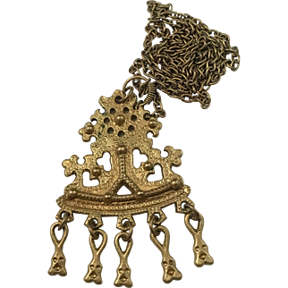Vintage Kalevala Koru, Finland Large Bronze Pendant Necklace.