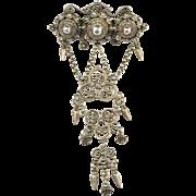 Dutch Victorian c 1870 Sterling Silver Filigree Large Brooch. Rare.