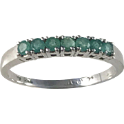 Art Deco 18k White Gold Emerald  Ring. 6 hallmarks, partly rubbed. Europe early 1900s