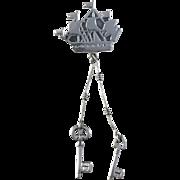Very rare Russian Soviet Mid Century Solid Silver Novelty Ship Keys Brooch.