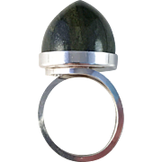 Bold Oversized Solid Silver Moss Agate Ring. Sought After Maker Stenlya, Sweden 1968. Modernist.