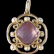 Antique Victorian 14k Gold Amethyst Seed Pearl Pendant. 3.7 gram