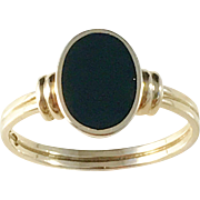 1940s Mid Century 18k Gold Onyx Men's size 10 Ring. Excellent.