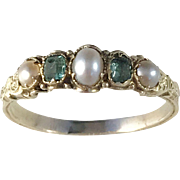 Antique Victorian 14k Gold Emerald Cultured Pearl Ring. Apparently unmarked.