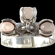 Sought After Elis Kauppi for Kupittaan Kulta Sterling Silver Rose Quartz Modernist 1970s Ring.