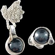 Herman Siersbøl. Denmark Sterling Silver Hematite Modernist Set. Pendant and Ring