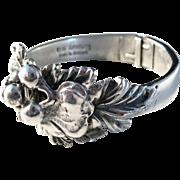 Erik Dennung, Denmark Bold Open Cuff Bangle Bracelet. Vintage Modernist Brutalist Floral.