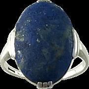 Art Deco Lapis Lazuli Sterling Silver Ring. Maker G. Dahlgren, Sweden 1936.