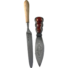 Silver Bone Butter Knife year 1834, Niklas Ramberg Sweden and Early 1900s Sterling German Parmesan Hard Cheese Knife
