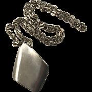 Large Jorgen Jensen, Denmark Modernist Pewter Pendant Necklace. Design no 129