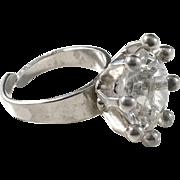 Alton, Sweden year 1975 Sterling Silver Large Rock Crystal Modernist Ring.
