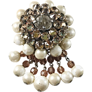 Christian Dior 1959 Rhinestones Faux Pearls Costume Jewelry Brooch.
