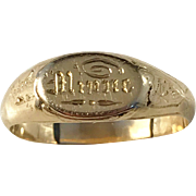 Very rare 18k Gold Antique year 1906 In Memory Mourning Ring. Magnus Larsson Sweden