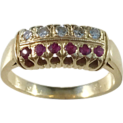 MId Century, London year 1962 Diamond Ruby 18k Gold Ring. 4.2gram