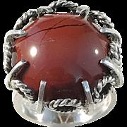 Erik Granit, Finland year 1971 Sterling Silver Agate Modernist Ring. Excellent.