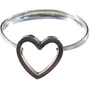 Erik Granit, Finland year 1962. Sterling Silver Heart Love Bracelet Bangle.