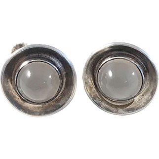 Ceson, Sweden year 1955 Mid Century Sterling Silver Moonstone Earrings.