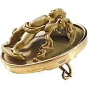 Victorian mid 1800s 14K Gold Carved Lava Cameo Brooch, High Relief Putti w Flowers, Grand Tour Italy