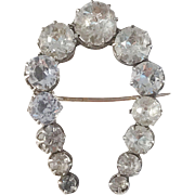 French La Belle Epoque Victorian Sterling Silver (pin 18k Gold) Paste Stone Brooch