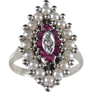 1940s Mid Century White Gold Diamond Ruby Pearl Cocktail Ring. Marked