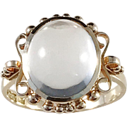 Harry Hermansson, Stockholm year 1954 Mid Century 18k Gold Cabochon Rock Crystal Ring. Excellent.