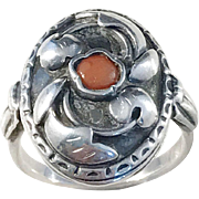 German Arts and Crafts Solid Silver Coral Floral Ring.