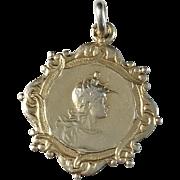 French Art Nouveau Gilt Sterling Silver Pendant c 1900. Excellent.